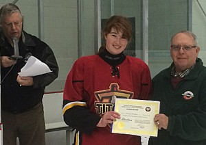 Friends of Alberta Junior Hockey Society Don Allan and Bob Green present the 2016 Charles S. Noble / Mark Goodkey memorial Scholarship  to Ceanna Maldaner of the Calgary Titans of the Alberta Female Junior Hockey League