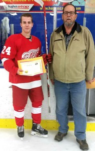 Bill Roberts of the Friends of AJH Society presents Jason Mandrusiak with a his Friends of AJH Scholarship