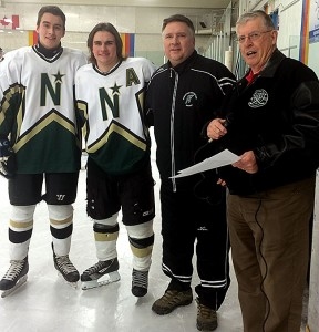 Tyler Weiss and Darrin Craig of the Edmonton Northstars were each presented with the Friends of Alberta Junior Hockey Society Scholarships by Friends' Bob Green.