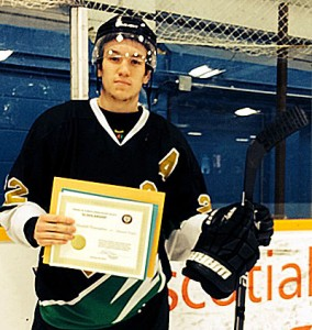 Edmonton Royals Shane Bosomworth with his 2016 Friends of AJH Society Scholarship
