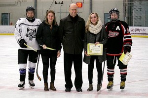 Pictured from Left to Right:<br /> Devyn Reid of the Edmonton Wolves, Jessica Kampjes from the Fort Saskatchewan Fury, Steve Bluett from the Friends of Alberta Junior Hockey Society, Matana Skoye from the Fort Saskatchewan Fury, Angela Mason from the Fort Saskatchewan Fury.