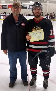 Bill Roberts from the Friends of Alberta Junior Hockey Society and Fabio deNardis of the Edmonton Beverly Warriors