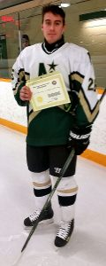 Tyler Weiss of the Edmonton N.E. Northstars and his Friends of AJH scholarship
