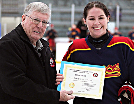 Faith Gette of the Cochrane Chaos winner of the Charles S. Noble Scholarship Bob Green presenting