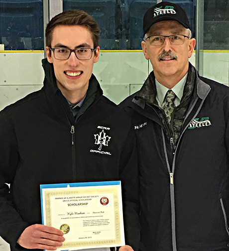 Kyle Moxham  of Sherwood Park Alberta, winner of the on - ice official  Friends of Alberta Junior Hockey Society scholarship with Glenn Ball